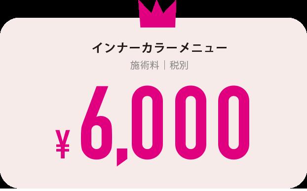 インナーカラーメニュー 施術料6,000円税抜